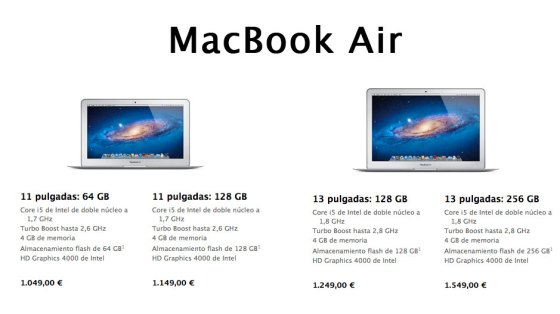 Nuevos MacBook Air de 2012