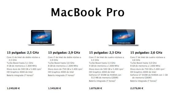 Nuevos Macbook Pro de 2012