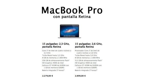 Nuevo MacBook Pro con pantalla Retina 2012