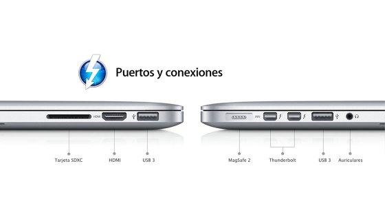 Conexiones del nuevo MacBook Pro con pantalla Retina 2012