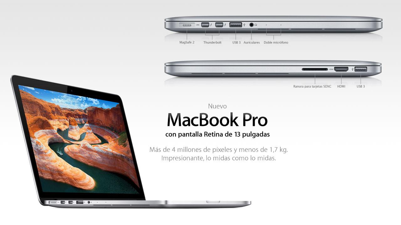 Macbook Pro con pantalla Retina de 13 pulgadas. Impresionante, lo midas como lo midas.