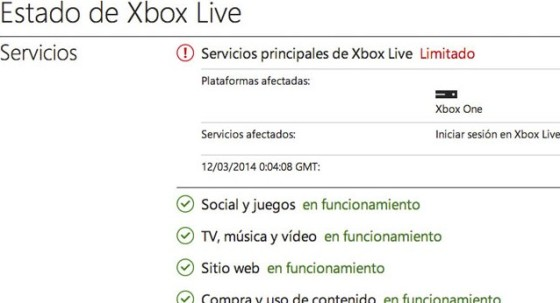 Estado xboxlive Xbox One 00