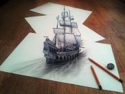 Barco vela lapiz 3D